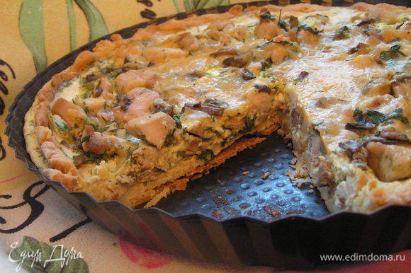 Дать пирогу немного остыть(хотя бы полчаса) и можно пробовать) Приятного аппетита!!!