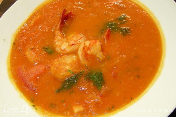 Разливаем суп по тарелкам и подаем. Приятного аппетита))