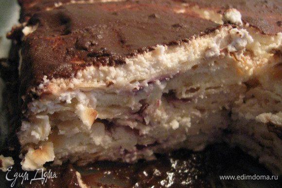 Тортик должен постоять в холодильнике 2-3 часа, а лучше ночь.