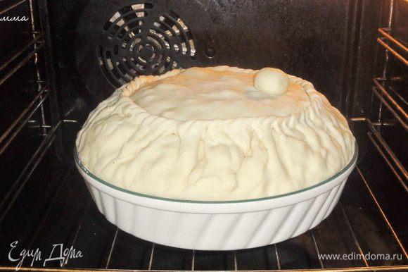 Ставим в разогретую до 180-200 градусов духовку. В период выпекания вам необходимо пирог проверять. Откройте колобок и посмотрите – достаточно ли там бульона. Если нет, то можете добавить. Главное не перелить!