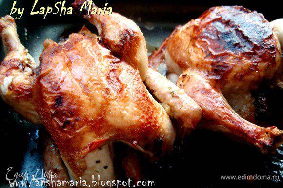 Запекаем в духовке при температуре 230-240С 40-50 минут. Через 10-15 минут после начала готовки цыплят можно перевернуть, тогда румяная корочка получится с обеих сторон. Овощи и травы отдают цыплятам все свои соки и ароматы и получается очень вкусно! Приятного аппетита!