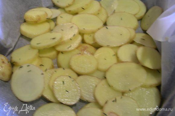 Начнем с картофельных чипсов. Напишу, как предлагалось их готовить в оригинале. Картофель моем, чистим, нарезаем очень тонкими кружочками и опускаем в холодную воду минут на 10. Вытираем их бумажным полотенцем. В большой сковороде на среднем огне разогреваем 2 ст.л. оливкового масла и выкладываем кружочки в один слой, сколько вместится, они не должны соприкасаться. Готовим до золотистого цвета минут 8, затем переворачиваем и готовим еще минуты 2-3. Убираем их и сохраняем в тепле. То же самое делаем с оставшейся частью. Я же картофель выложила в форму для запекания на бумагу, добавила около 1 ст.л. оливкового масла и щепотку тимьяна, перемешала и запекла в духовке минут 20 при 180 гр, несколько раз перемешав.