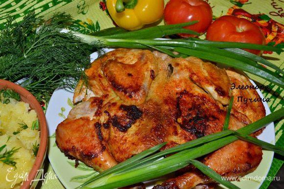 Подала с картошкой и овощами.45мин.и шикарный ужин готов)