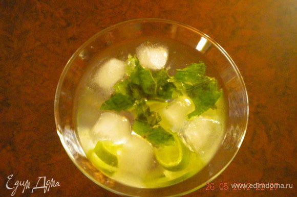 Все очень просто: в бокал выжимаем сок лайма, добавляем листики мяты, наливаем Мартини и добавляем лед. Все готово!