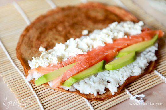 На омлет выложить рис,сыр,авокадо,семгу.