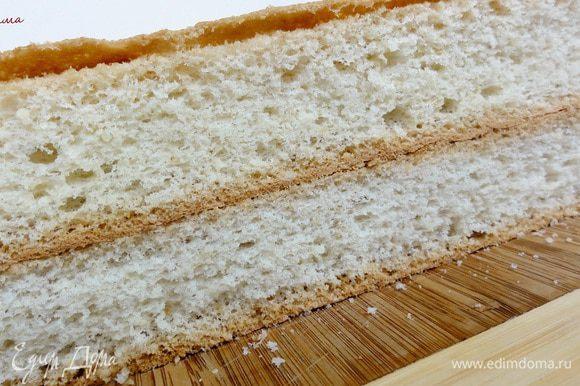 Для основы возьмите миндальный шифоновый бисквит изготовленный по этому рецепту: http://www.edimdoma.ru/retsepty/42288-mindalnyy-shifonovyy-biskvit Дайте ему выстоять. Обрежьте края. Сварите заварной крем http://www.edimdoma.ru/retsepty/40237-profitroli-tiramisu В этот раз я варила его на кукурузном крахмале.