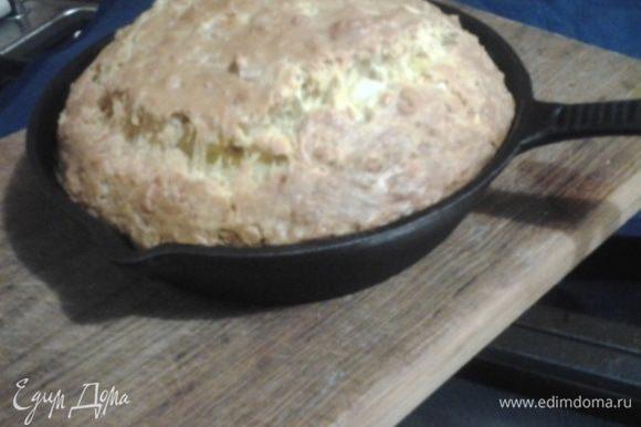 духовку разогреть до 180гр смазать жаровню маслом, выложить тесто и выпекать 45 минут на среднем уровне духовки