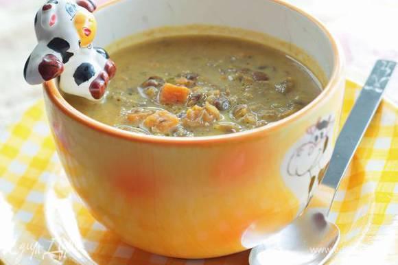 Молоко вливать в суп частями до получения нужной консистенции, затем посолить, поперчить и прогреть, но не кипятить. Подавать со сметаной.