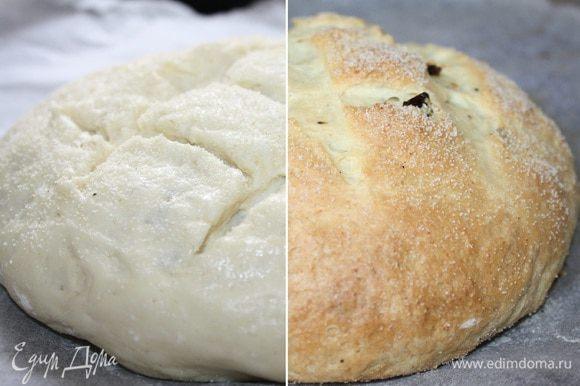 Поднявшееся тесто смазать молоком(или смесью молока и желтка),присыпать сухой манкой(орехами или семечками,ароматными травами),надрезать поперёк 2-3 раза и поставить выпекаться в духовку,разогретую до 220*С на 10 минут.Затем уменьшить огонь до 180*С и допечь до румяной корочки(25-35 минут).Готовый хлеб прикрыть полотенцем и полностью остудить.Притного аппетита!