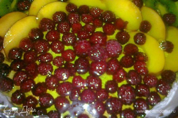 Желе заливаем 1 стаканом кипятка, размешиваем и остуживаем, потом ставим в холодильник на 20 мин, тем временем нарезаем фрукты, достаем торт из холодильника, выкладываем верх фруктами и покрываем одной третьей частью желе и ставим в холодильник на 30 мин.