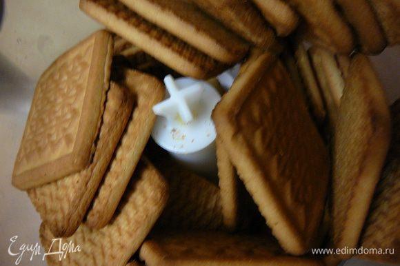 Печенье смолоть в мелкую крошку,в блендере или же перетереть руками.