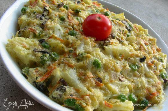 Можно его подавать с овощным салатом и полить сметаной, Приятного аппетита)