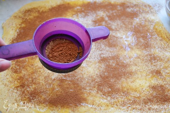 Какао смешать с корицей и половину потрусить через ситечко на тесто.