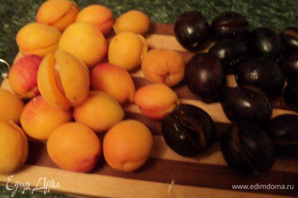 Абрикосы и сливы надрезать с одной стороны, удалить косточки и вложить по кусочку шоколада: в сливы – черный шоколад, в абрикосы – белый шоколад.