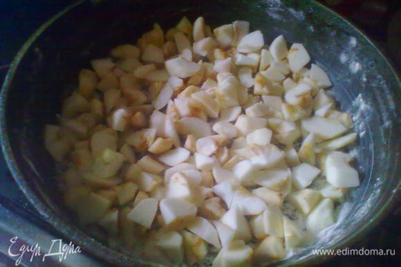 Смазать форму маслом и посыпать мукой. Яблоки очистить и нарезать, как вам нравится.