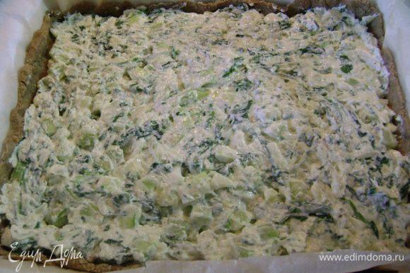 Выложить начинку на тесто, разровнять его и выпекать в предварительно нагретой до 200 гр. духовке 30 мин.