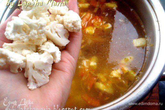 Когда бульон вскипи, добавим цветную капусту и поварим её 15-20 минут до готовности. Попробуйте суп, при необходимости добавьте соль.