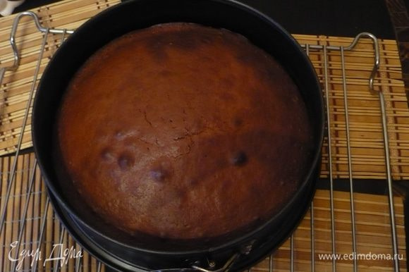 Испечь бисквит: взбить желтки, яйцо и сахар до бела.До густой консистенции.Добавить масло и молоко.Перемешать.Смешать муку, какао и разрыхлитель и просеять во взбитую массу. Тесто вылить в разъемную форму, смазанную маслом и выпекать при темп 180 гр 35 минут.Вынуть бисквит.Остудить и разрезать на 2 части.