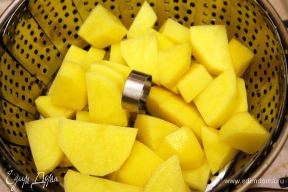 Помыть и почистить картофель, нарезать его на кубики и отварить на пару.Готовый картофель подавить, как для пюре.