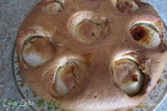 После выпечки пирог охладить в форме, затем перевернуть или аккуратно выложить на блюдо, по желанию просыпать пудрой.