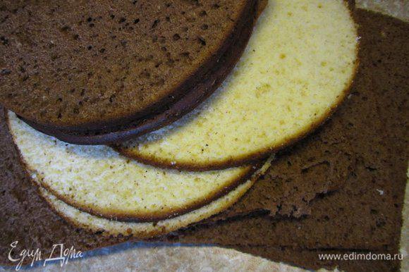 Приготовить бисквиты по рецепту http://www.edimdoma.ru/retsepty/38569-biskvit-na-kipyatke-belyy. Бисквиты можно выпекать в формах разного размера, чтобы оставалось меньше обрезков.