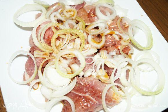 Нарезать кольцами репчатый лук, и добавить его к мясным косичкам, добавить сок граната и соевый соус, оставить мариноваться на 40-50 минут.