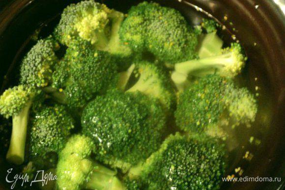 Брокколи разобрать на соцветия и отварить в подсоленной воде в течении 8-10 мин. Затем кипяток слить и охладить брокколи, опустив на несколько минут в холодную воду для сохранения яркого цвета.