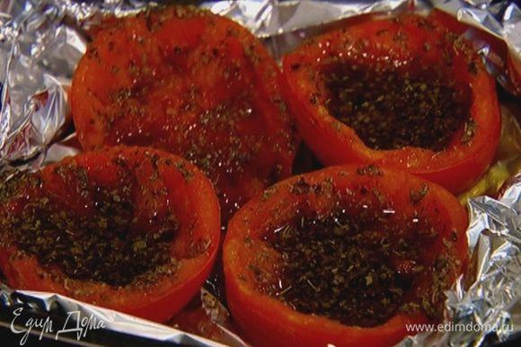 Отправить помидоры под гриль на 10 минут.
