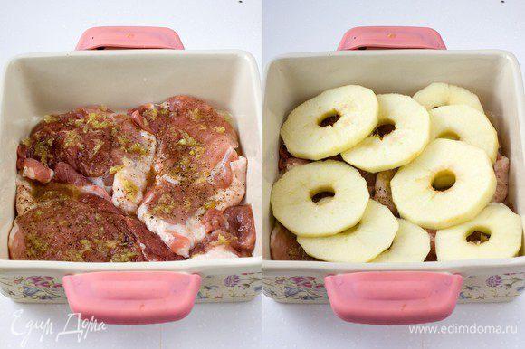 Намазать смесью имбиря и меда мясо, сверху положить кружочки яблок. Смешайте растопленное сл. масло, сок из половины лимона и сахар, полейте яблоки со свининой, оставив 2 ст.л. для того, чтобы полить блюдо на завершающем этапе. Накройте форму фольгой и поставьте в горячую духовку на 1 час при 170 градусах. За 10 минут до готовности фольгу снять и полить оставшей смесью масла с лим.соком и сахаром. Допекать без фольги, можно немного увеличить температуру, если хотите позолотить яблоки.