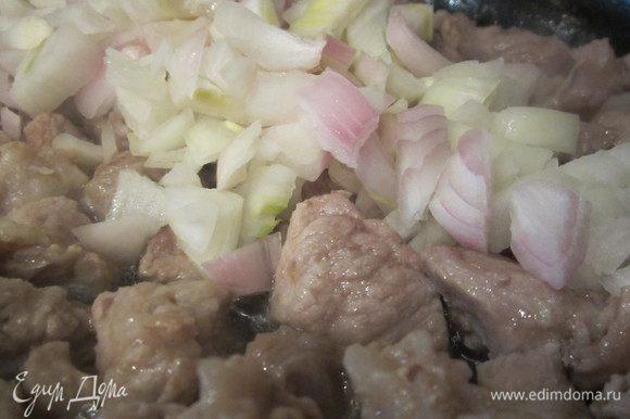 Мелко порежем лук и добавим к мясу, прожарим минут 5.