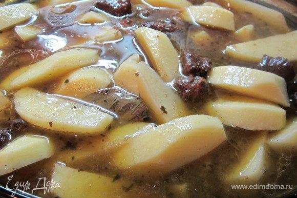 Готовое мясо отправим в очищенный картофель, добавим подливу, которая у нас осталась,зальем водой, все хорошо размешаем и отправляем в духовку на 1 час при температуре 200-220 градусов.