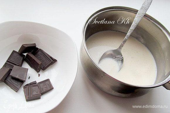 Готовим шоколадный мусс. Желатин залить водой для набухания. затем прогреть его в микро 10 сек, процедить. В молоке растворить миндальную эссенцию, сахар, мед и нагреть на огне. Горячее молоко соединить с измельченным шоколадом. Все смешать до однородности. Слегка охладить и добавить распущенный желатин.