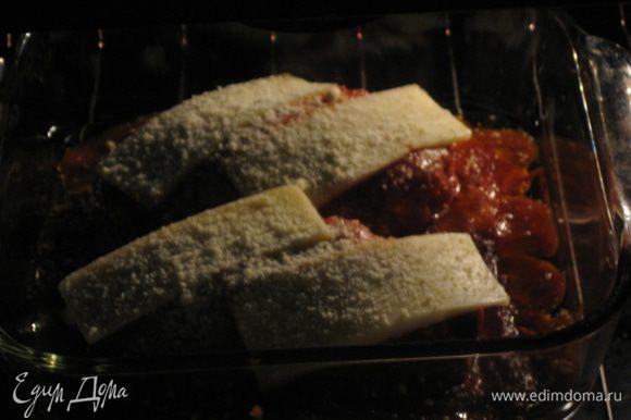 Отравляем курочку в духовку на 30 минут, после того как сыр начал плавиться накрываем фольгой
