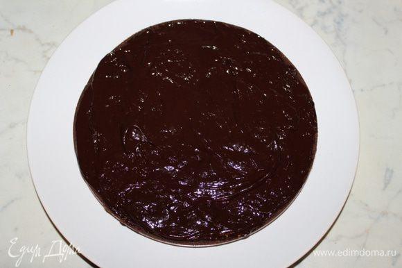Выложить один корж на блюдо, нанести часть крема.