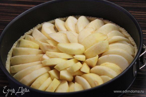 Разложите яблоки на тесте и отправьте выпекаться в разогретой до 200 градусов духовке на 20 минут!
