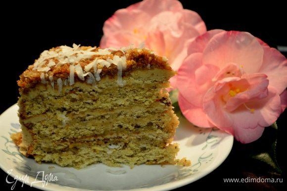 Готовый торт поставим в холодильник охладить. Подаем к чаю, порезав на кусочки. Приятного вам всем аппетита!!! На фото это мои камелии, которые цветут зимой, они украсили этот снимок.