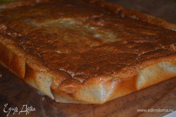 выпекать пирог надо при 190 гр 30 минут. Он должен зарумяниться. По квартире пойдет удивительный запах. Затем пирог остудить и только тогда снять бумагу.