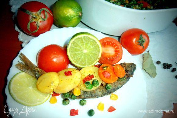Овощи сверху проглатываются мгновенно-такие они вкусные!!! Ну,а с рыбкой надо не торопится,а расправляться степенно,сами понимаете...