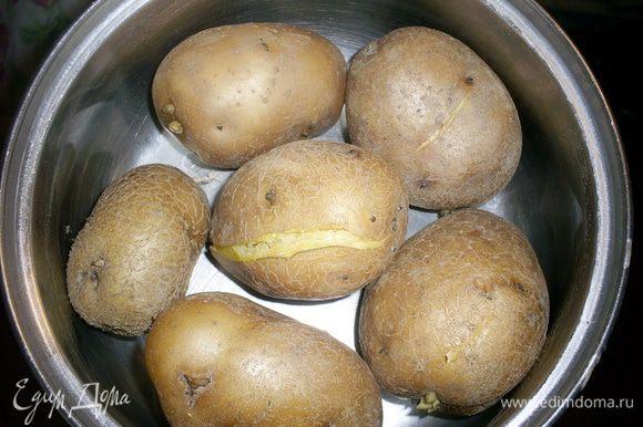 Нам понадобиться горячий картофель, сваренный в кожуре. Как только он остынет настолько, что вы сможете взять его в руки - чистим его и разминаем вилкой.