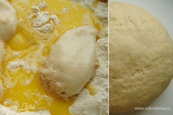 В глубокую миску просеять муку, добавить сахар, соль, кокосовую стружку. Оставшуюся воду (молоко) смешать с яйцом и маслом и влить в муку. Руками замесить тесто.