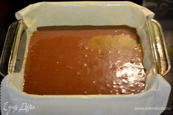 Выльем это в форму и поставим в духовку на 35-40 мин. Проверяем зубочисткой центр. Дадим полностью остыть.