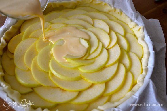 Вылить смесь на яблоки, равномерно распределяя по всему торту. На первый взгляд покажется, что крема не много. Но в духовке он раздуется и увеличиться в объеме. Поставить торт в духовку при 180 С на 30 минут, пока он не зарумянится...