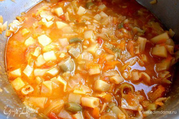 Варим до готовности овощей...,минут 15-20 под крышкой (в данном случае фасоль у меня была сырая,поэтому ориентировалась на неё,но,если фасоль консервированная,то главное-приготовить картофель и суп готов!).