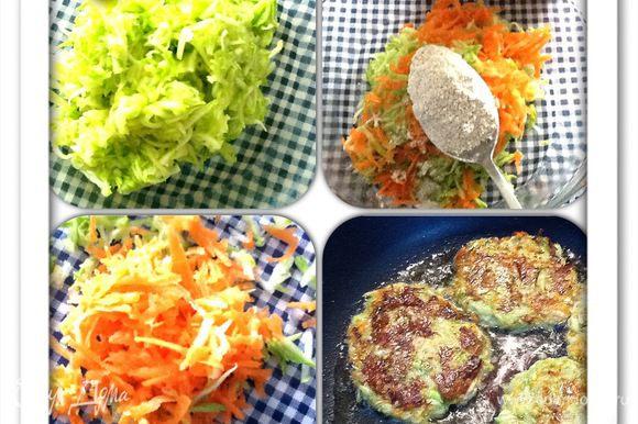 Из кабачка, моркови и ржаной муки сделать плоские оладьи