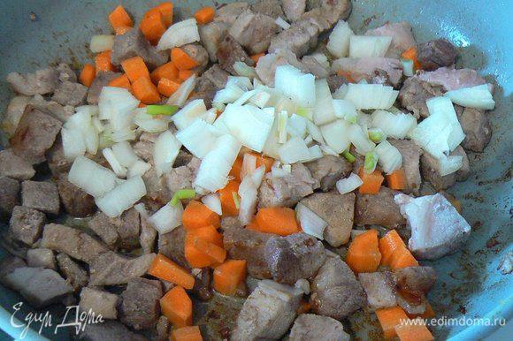 нарезать мясо на мелкие кубики,обжарить в сковороде,где жарилась грудинка,добавить порезанные на кубики морковь и лук,обжарить до золотистого цвета