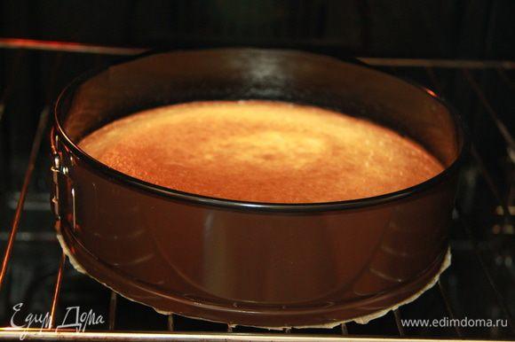 Выпекать в течение примерно 1 часа (+-) на средней полке в предварительно разогретой до 170*С духовке. Торт должен быть слегка коричневого цвета по краям и может быть бледным в середине. Вынуть пирог из печи и положить на 20 минут остывать.