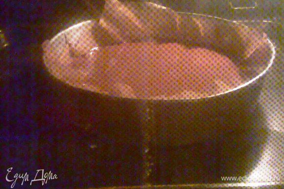 В разогретую духовку до 180° ставим наше тесто в форме, выстланной бумагой, приблизительно на 20 минут.