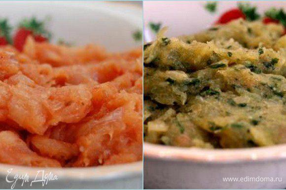 Лук нарезать мелким кубиком, обжарить до приятного золотистого цвета на растительном масле. Остудить. Рыбу отделить от костей и измельчить ножом (можете использовать мясорубку или блендер, мне больше нравится рубленое мясо), добавить яйца, обжаренный лук, соль, перец и хорошо перемешать до однородности. Слегка обжарить на растительном масле томатную пасту. Остудить. Базилик как можно мельче измельчить ножом. В оригинале использовался шпинат, но у нас дома кое-кто при слове «шпинат» слишком выразительно морщится, поэтому заменила его на всеми любимый базилик. Разделить рыбный фарш на две равные части. В одну часть добавить томатную пасту, в другую – базилик.