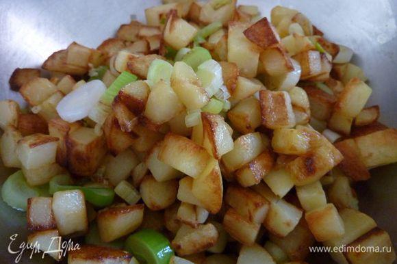 Пересыпать картошку в миску .