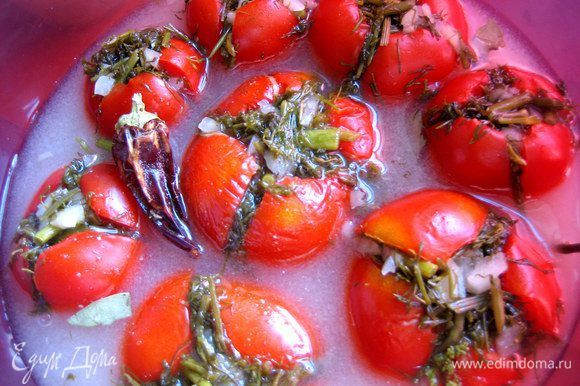 Если начинают всплывать, можно накрыть тарелкой с грузом, но не очень тяжёлым, чтобы не раздавить томаты!